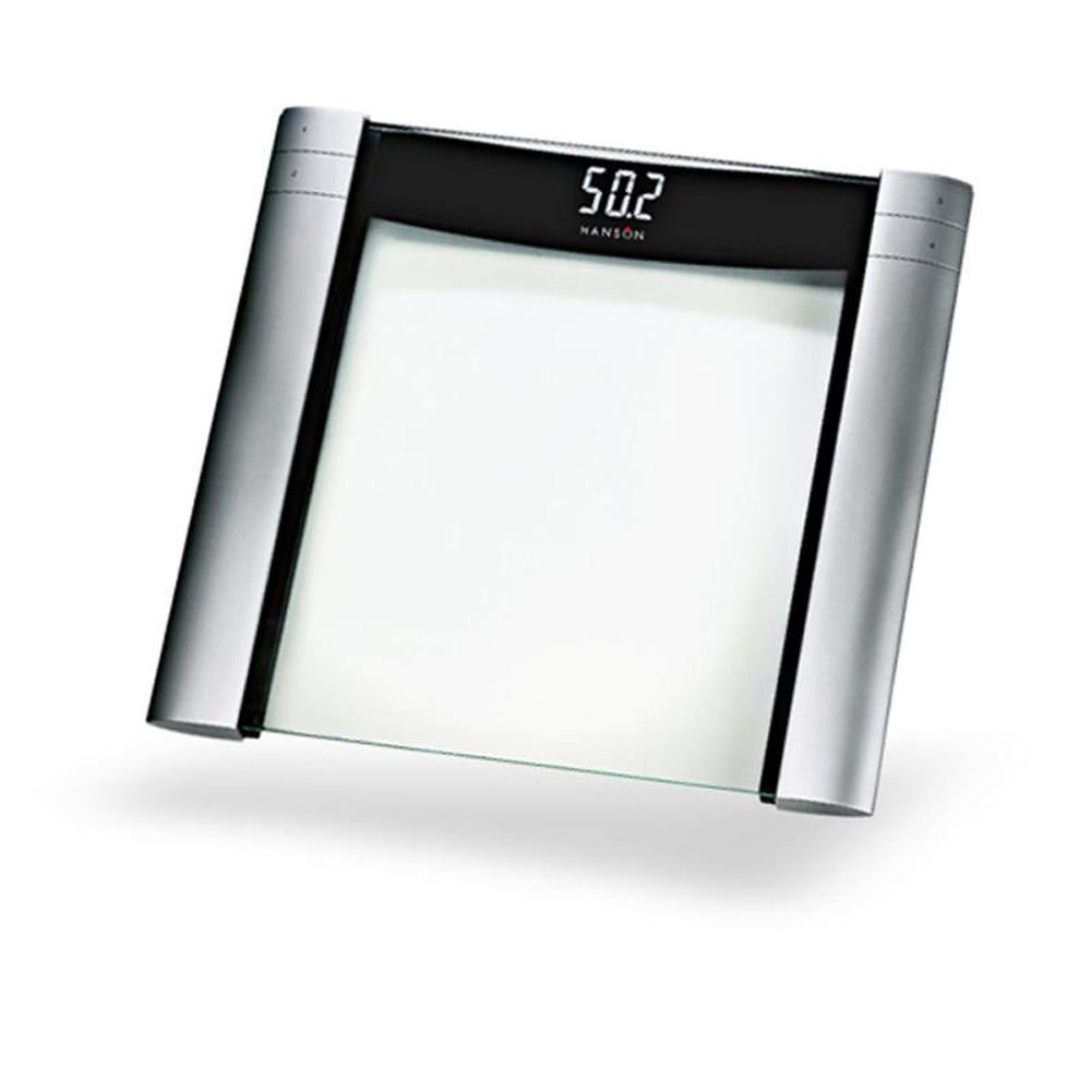hanson silver hxm20 glass digital bathroom scales