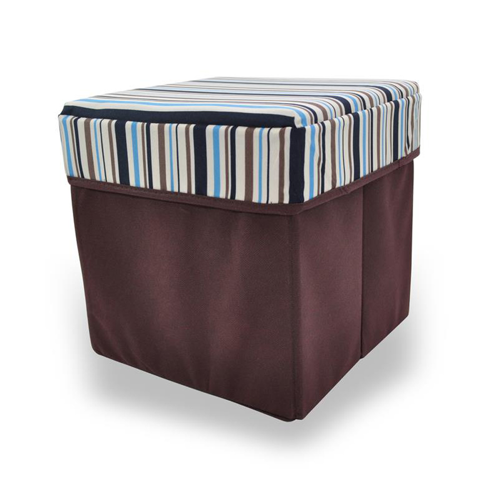 Brown Striped Square Storage Stool