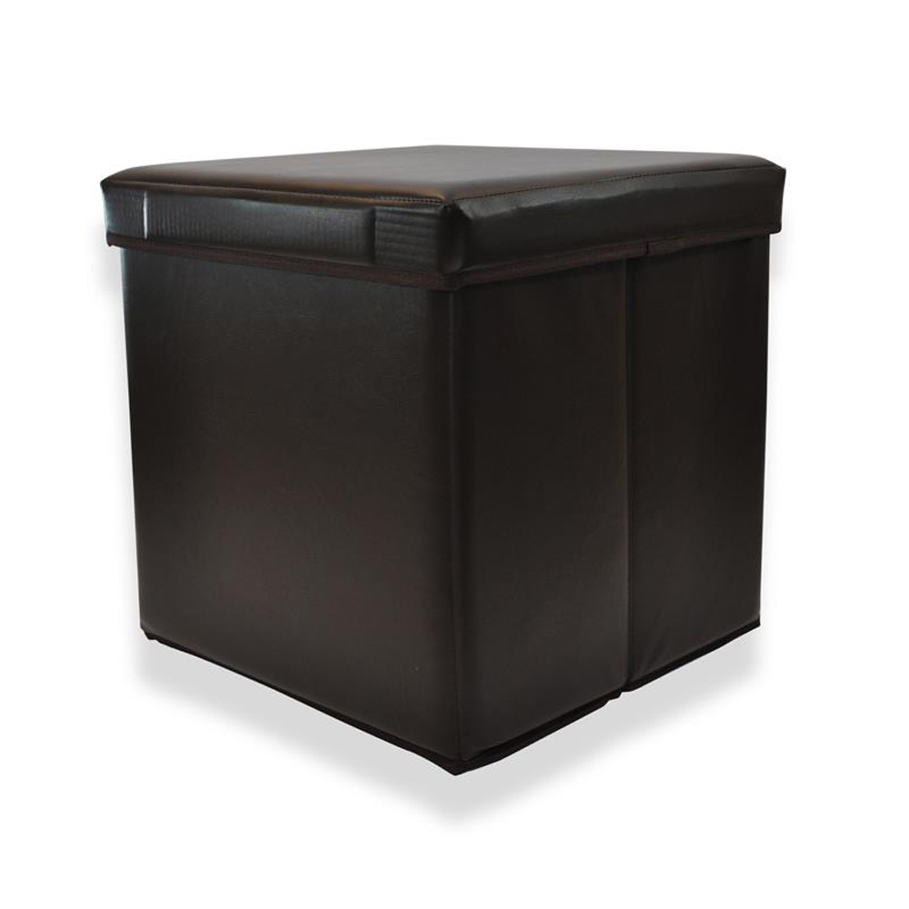 Faux Leather Folds Flat Storage Stool