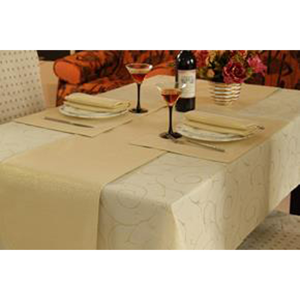 Gold Swirl Large Table Linen Set for 6