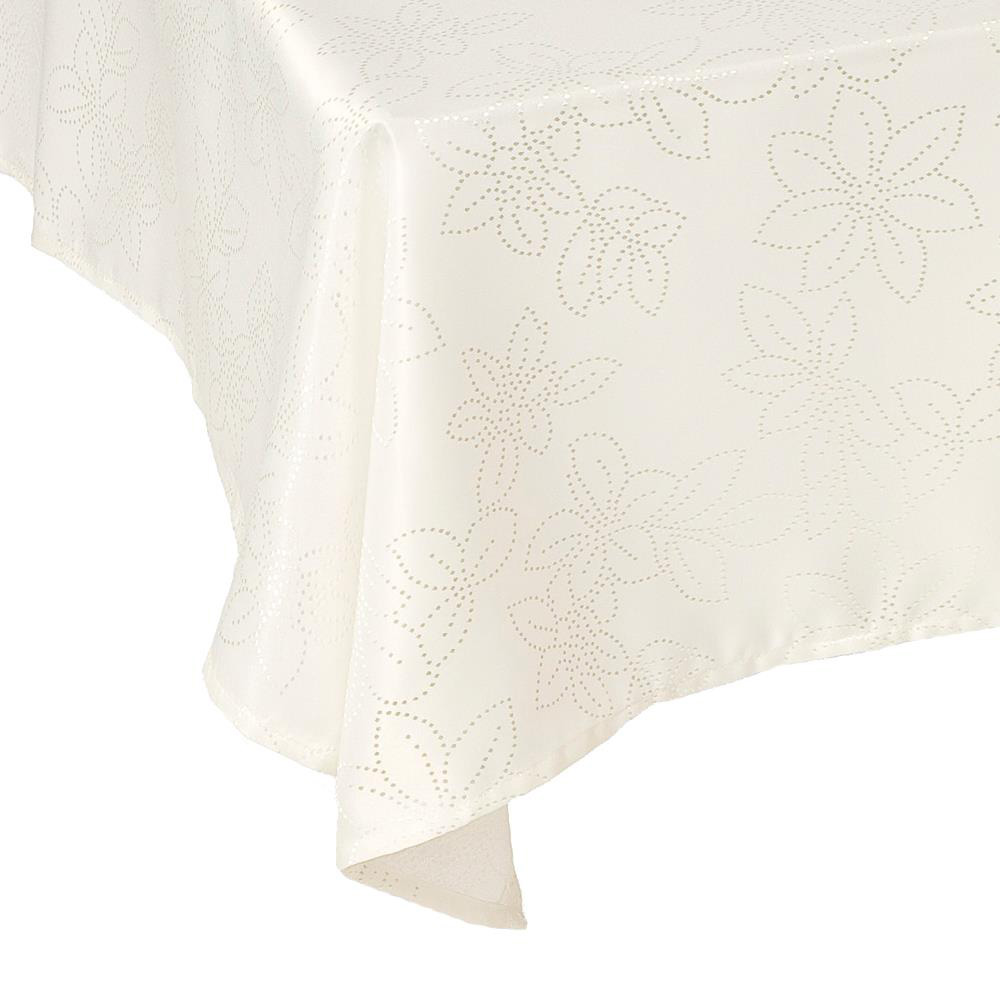 Ivory Rosetta Stain Resistant Tablecloth Square: 137x137cm