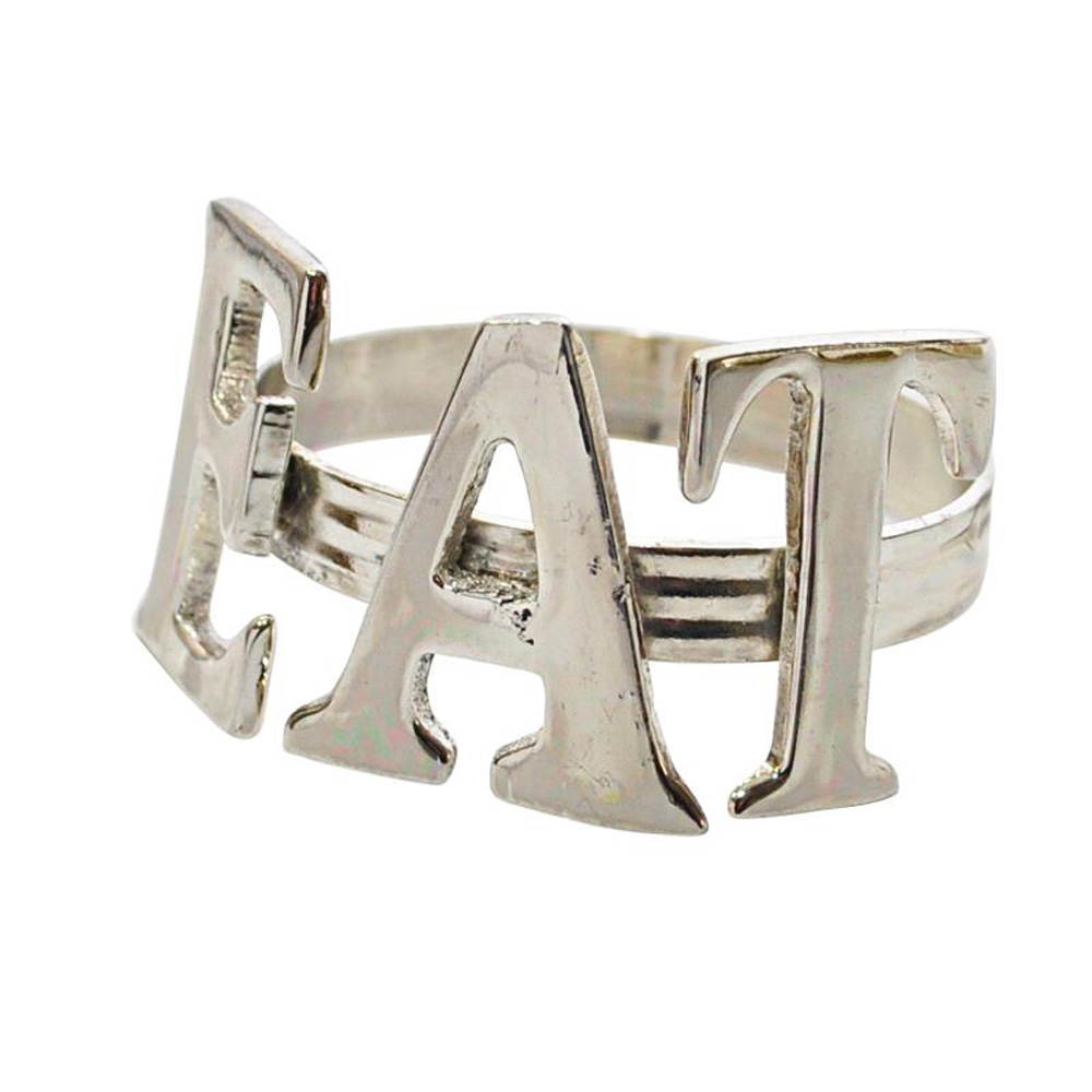 Silver EAT Napkin Ring