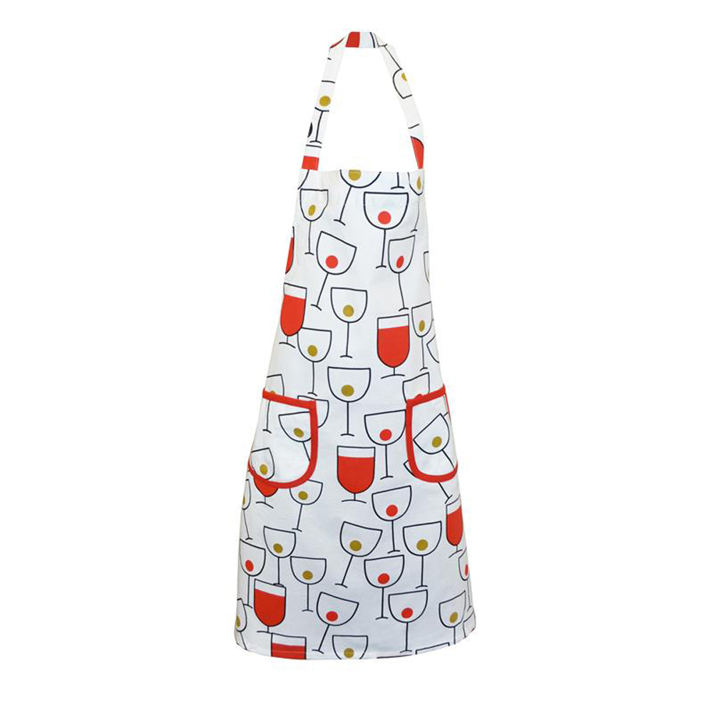 Tuscany Wine Glass Print Cotton Cooking Apron
