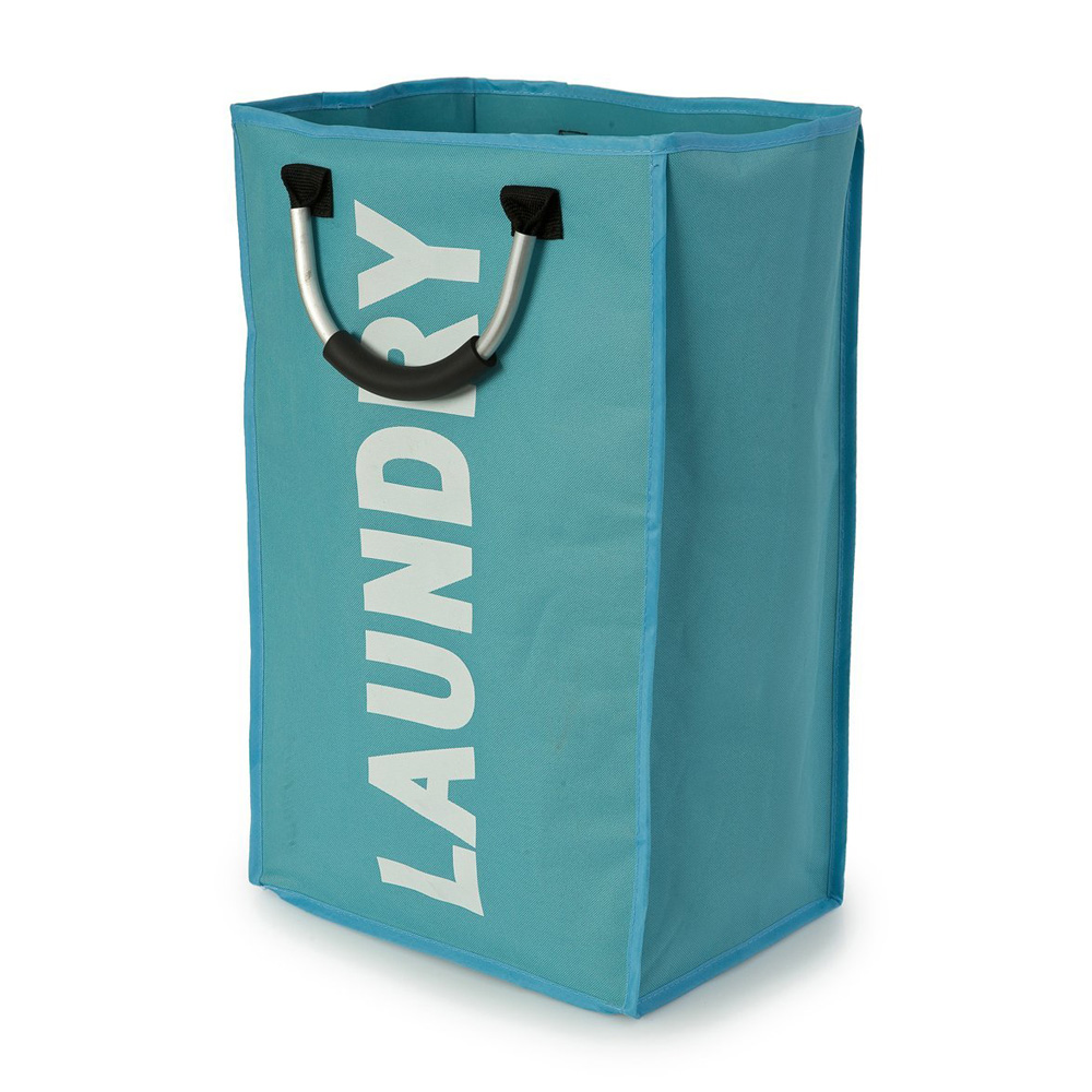 Modern Blue & White Laundry Bag with Silver Handles