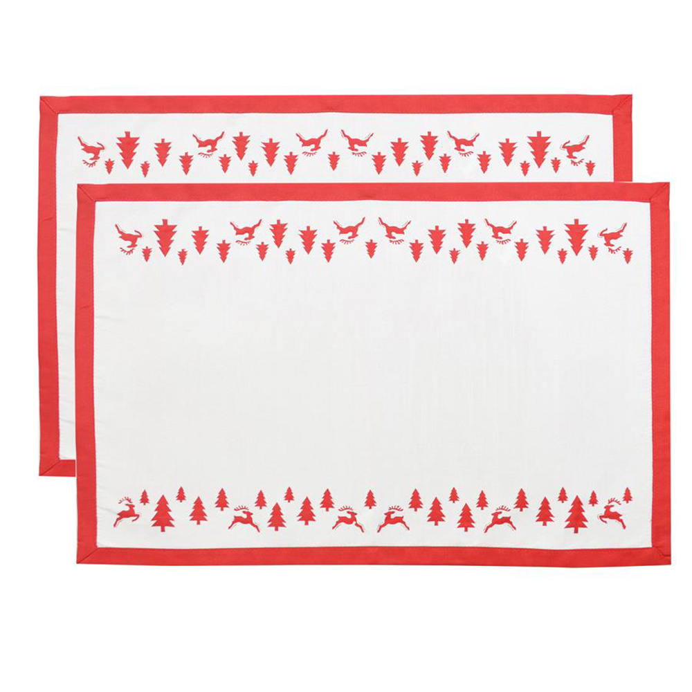 Set of 2 red white yuletide dining table placemats for Dinner table placemats