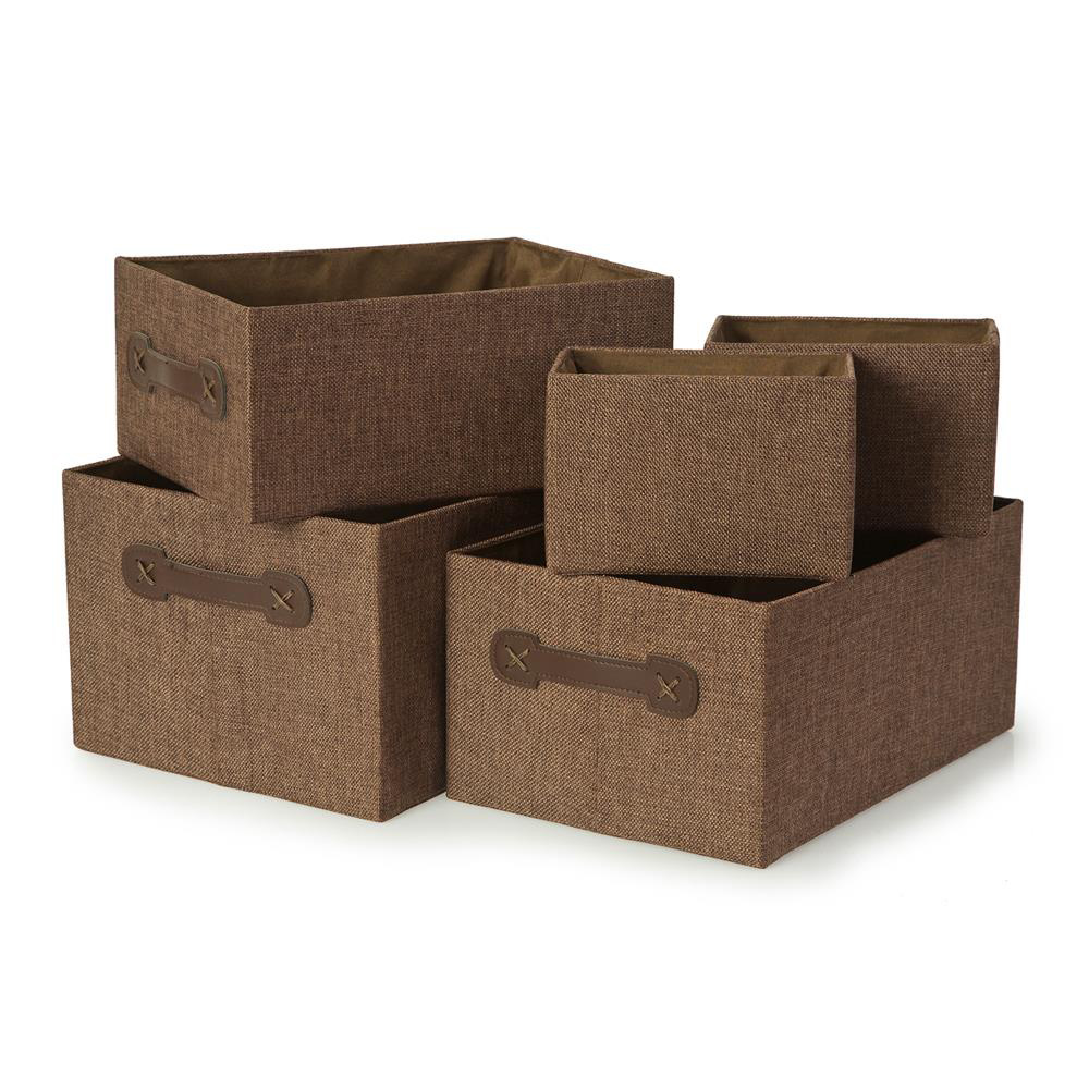 Set of 5 Brown Plain Storage Boxes