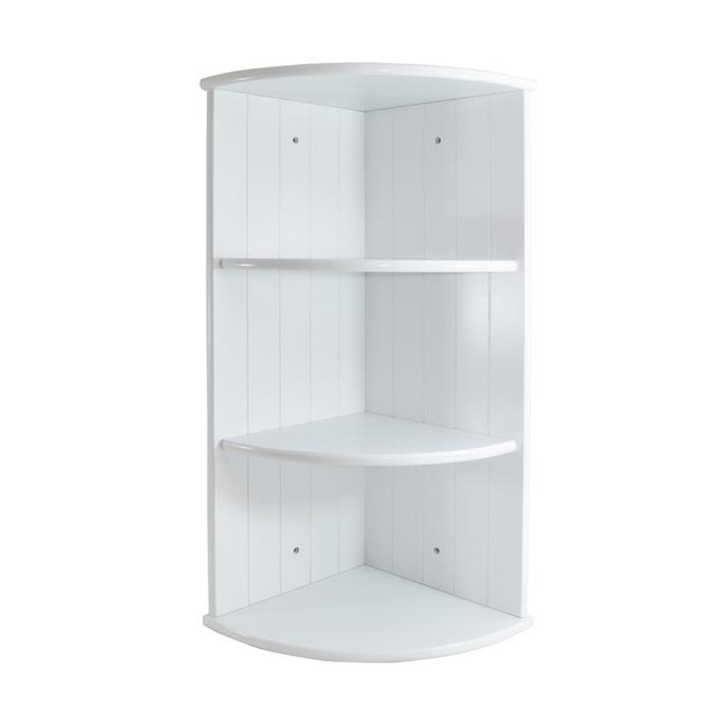 white shaker 3 shelf corner wall unit