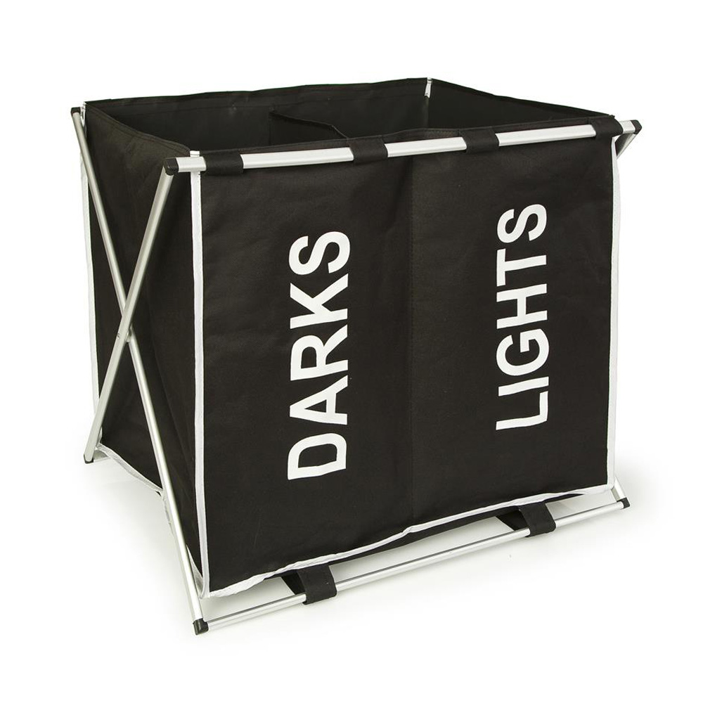 Black & White Double X-Frame Laundry Bin