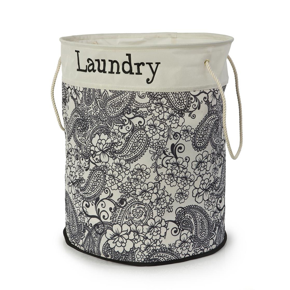 Round Black & White Floral Laundry Bin with Rope Handles