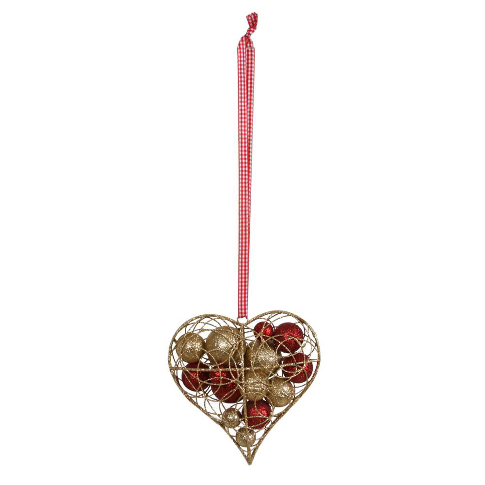 Wire Heart with Gold & Red Baubles Christmas Decoration