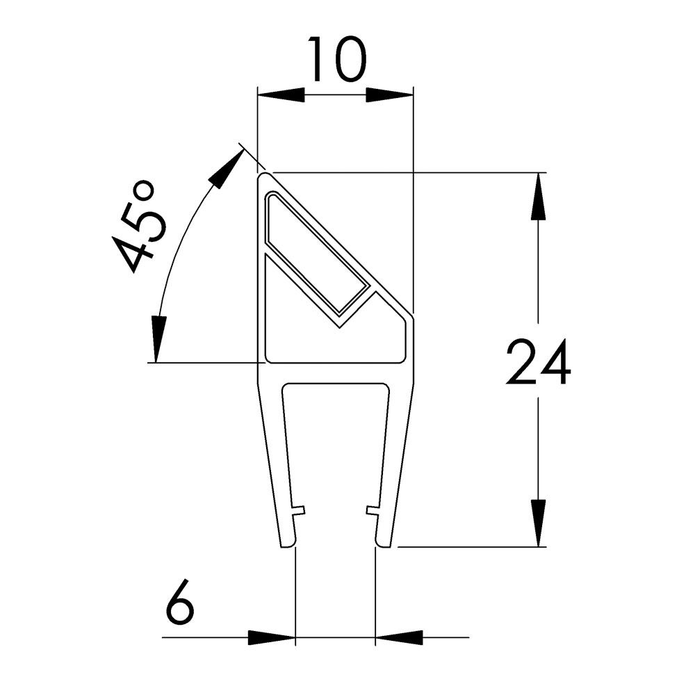 45 Degree Angle Shower Door Magnetic Seal 1832mm Straight