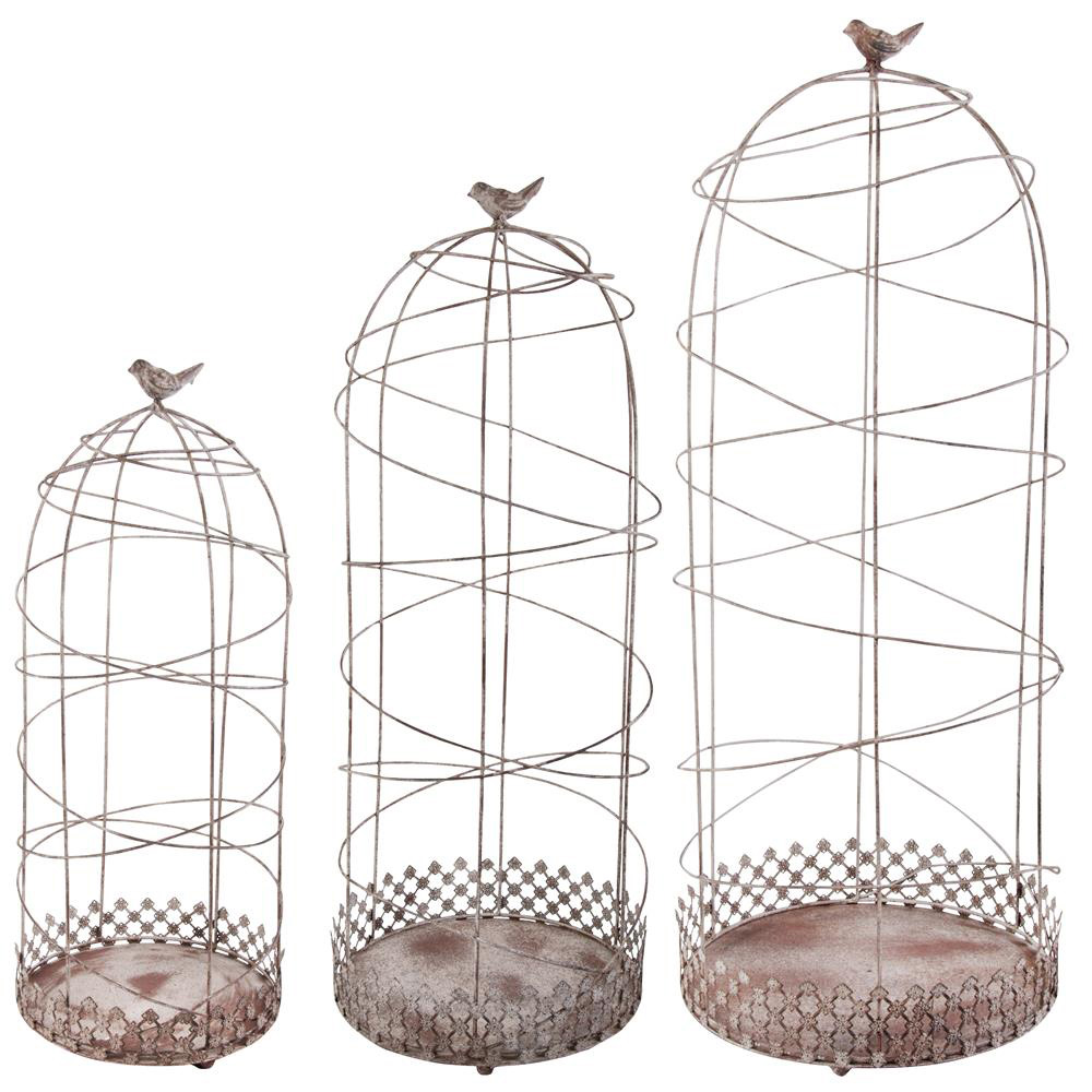 Aged Antique Style Metal Plant Climbers - Set of 3