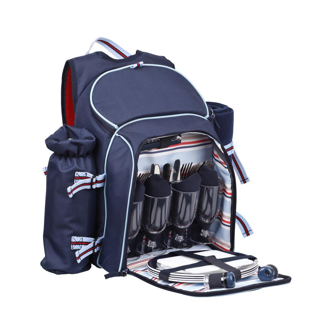 Coastal Navy 4 Person Picnic Set with Bottle Holder & Blanket