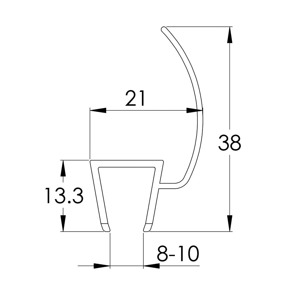 Hinged Door Flipper Seal: 1950mm Straight