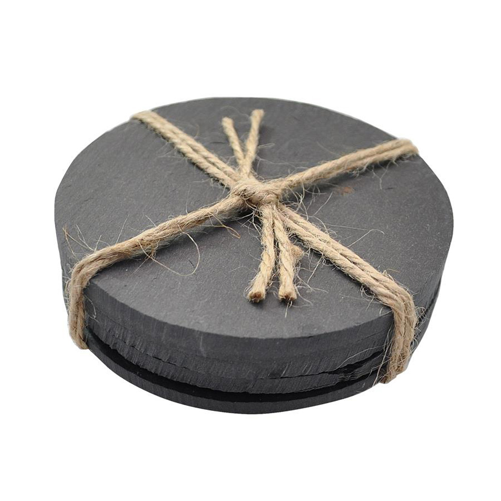 Round Slate Coasters - Pack of 4