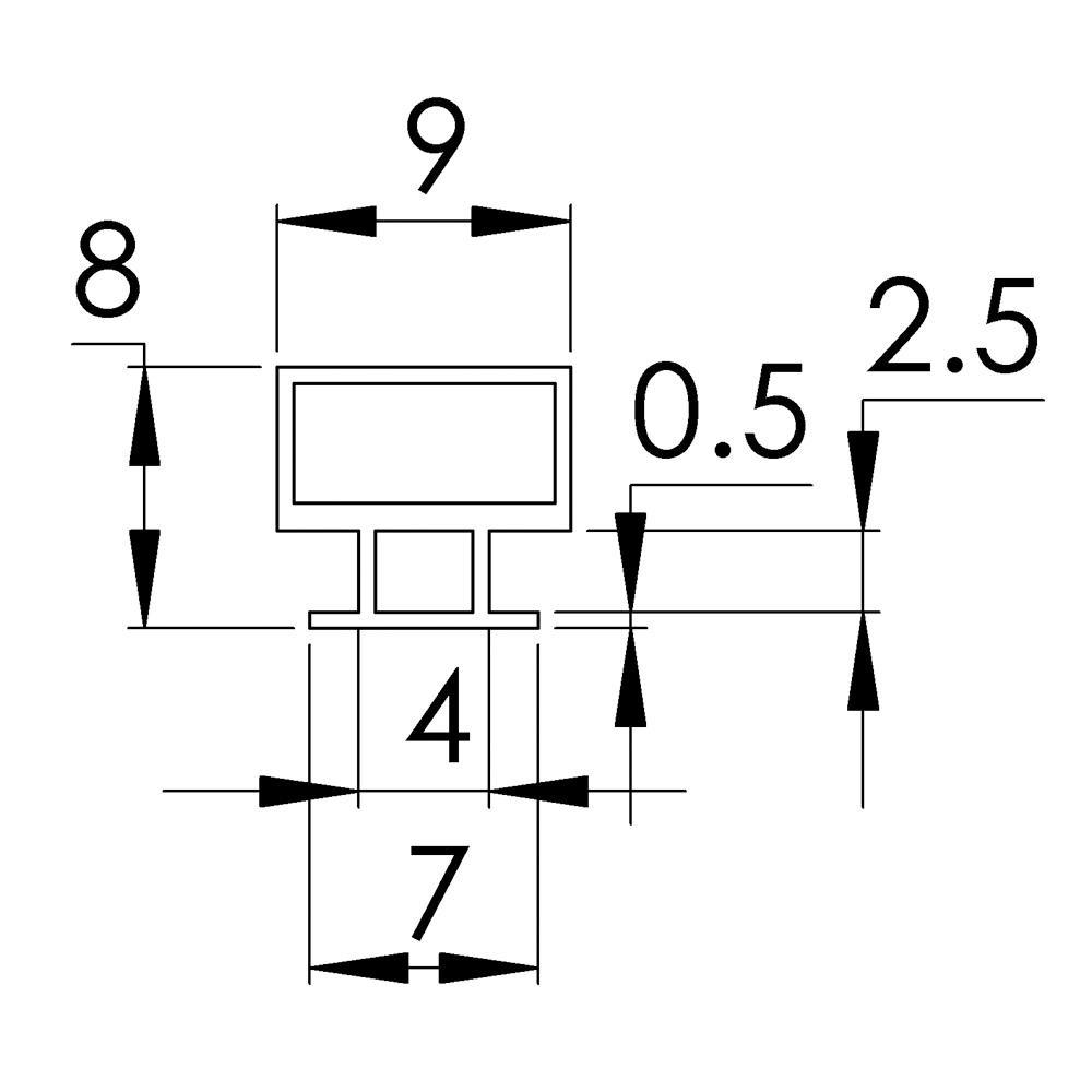 Sliding Shower Door Frame Magnet 1850mm Straight Roman
