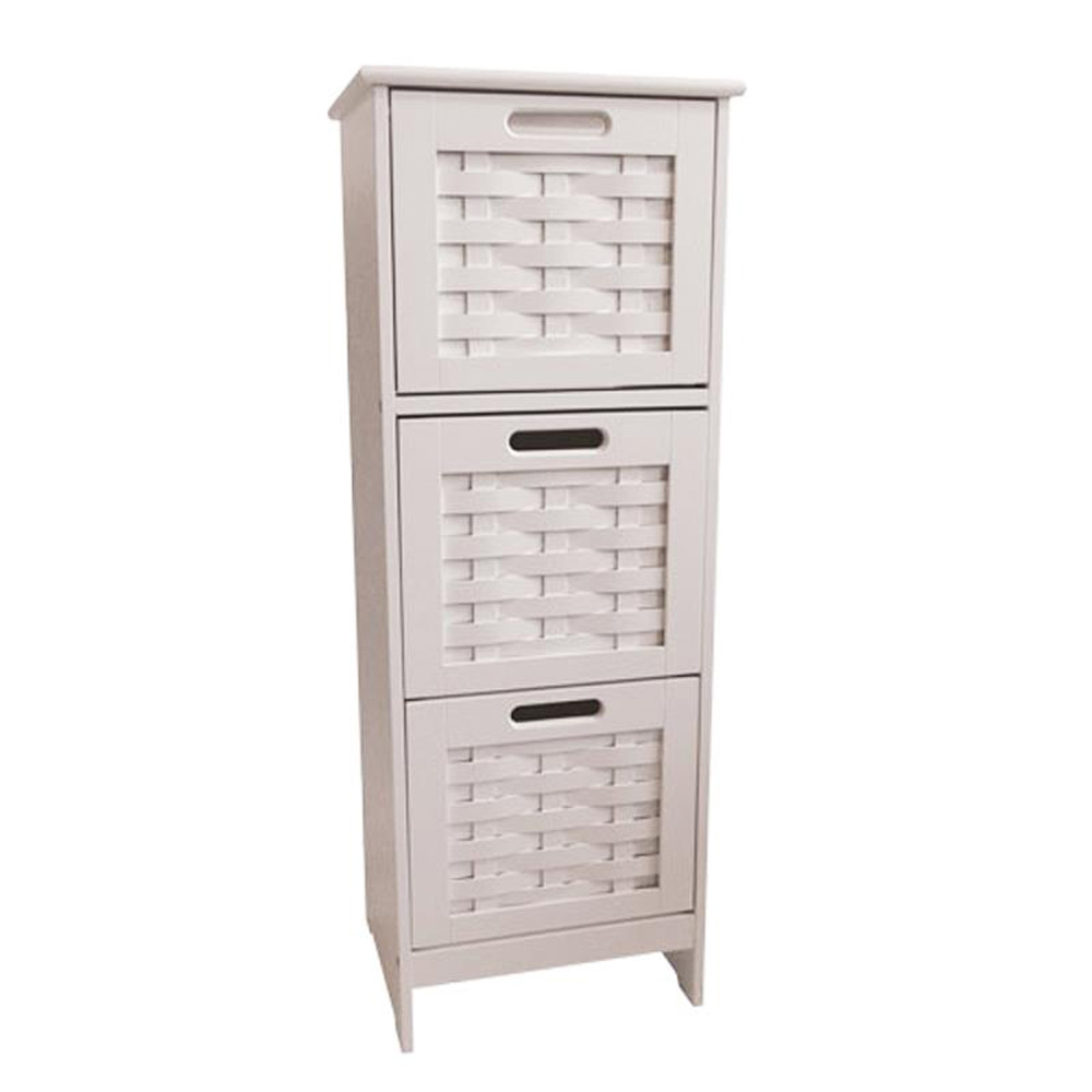 Slim White Weave 3 Drawer Storage Unit