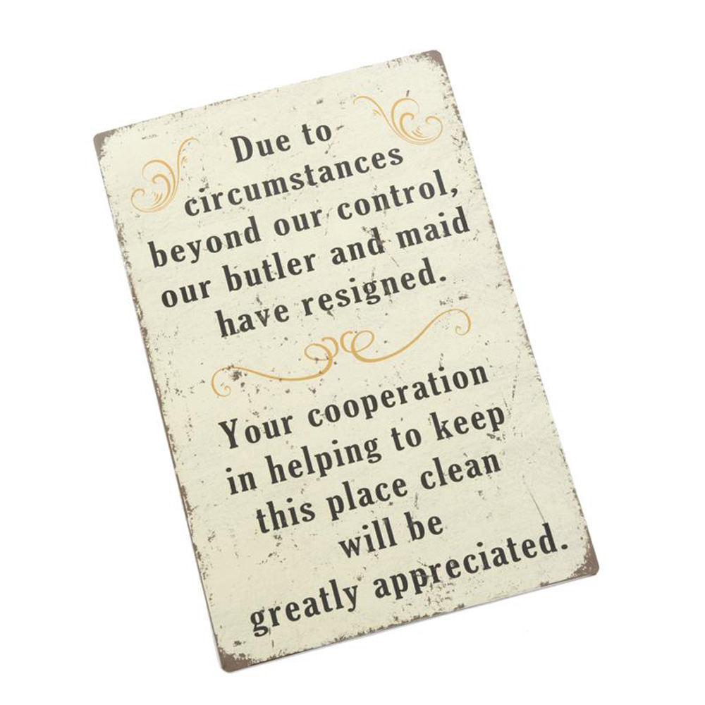 Cleaning Circumstances Metal Wall Plaque