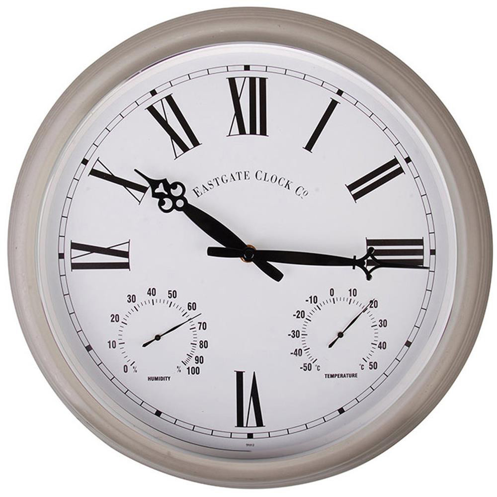 Outdoor Metal Wall Clock with Thermometer & Humidity Dials