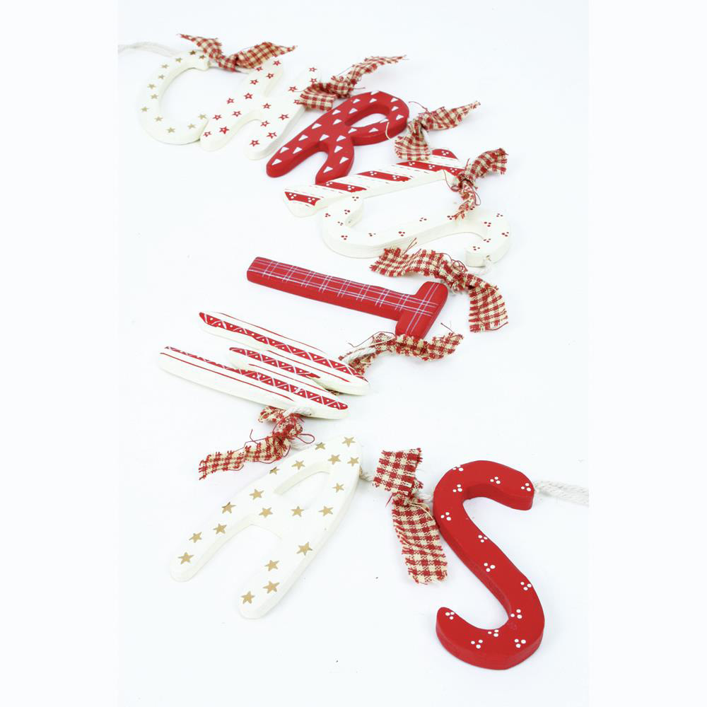 Red & White Wooden Christmas Garland Decoration