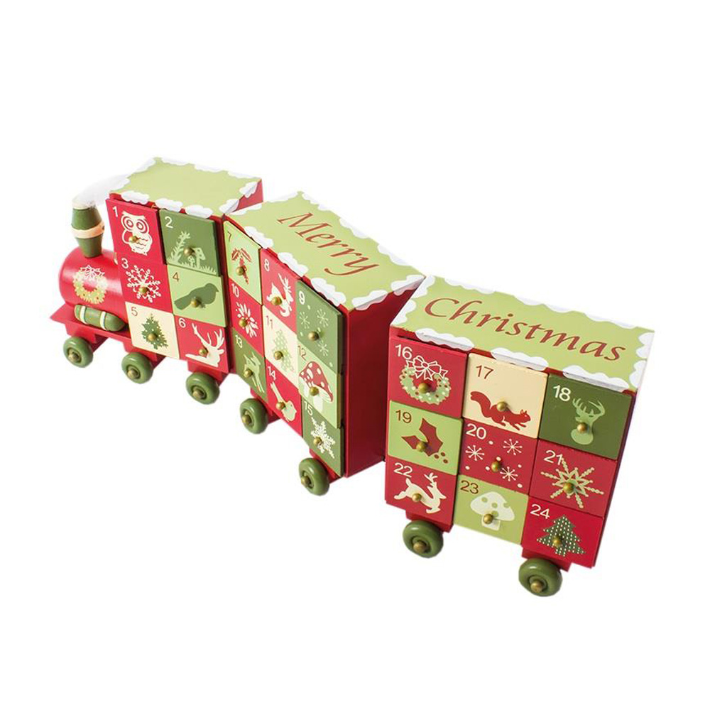 Wooden Christmas Advent Calendar Train