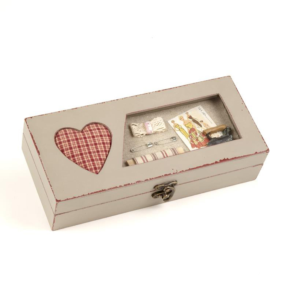 Wooden Sewing Trinket Box with Red Heart Pin Cushion