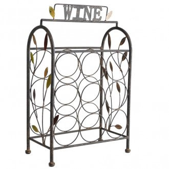 Black Metal Leaf Wine Bottle Stand